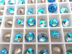 6 Aquamarine AB Swarovski Crystal Chaton  Stone 1088 by BeadwareIL-$3.75,12-$7.45