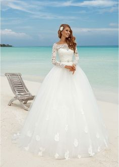 Tulle Court Train Ball Gown Full/Long Sleeve Scoop Neck Covered Button Wedding Dress With Appliqued Beaded Sequins (S10107033EUW)