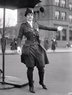Leola N. King, America's first female traffic cop, Washington D.C, 1918. [This possibly is Pennsylvania Ave NW just south of where Indiana Ave meets it at C St.]