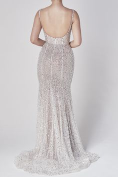 Chosen's breathtaking bespoke beading embellishment in a completely new silhouette, this is our 'Muse' gown. With a corseted bodice, and fit and flare skirt, Dream Wedding Dresses, Designer Wedding Dresses, One Day Bridal, Elopement Dress, Day Designer, Fit And Flare Skirt, Wedding Dress Accessories, Gowns Online, Bridal Looks