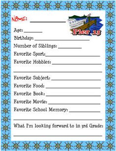 If you have a little one going to school for the first time, remember the day by filling out this questionnaire.