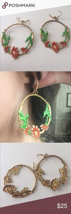 Austrian gold hoop earrings Beautiful floral hoops from Austria! Not real gold but still gorgeous! Never worn! Jewelry Earrings