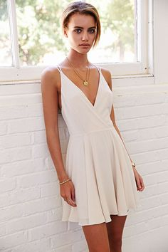 Sparkle & Fade Strappy Chiffon Skater Dress-Urban Outfitters