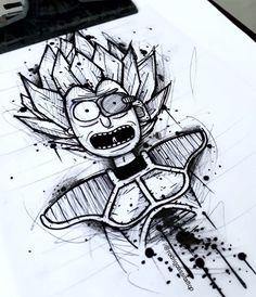 Dark Art Drawings, Tattoo Design Drawings, Art Drawings Sketches, Rick And Morty Drawing, Rick And Morty Tattoo, Tatoo Geek, Tatoo Art, Cartoon Tattoos, Anime Tattoos