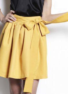 Yellow Wrap Skirt - Twill Wrap Skirt   UsTrendy