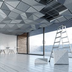 Acoustic Tiles For Ceiling Acoustic Ceiling Panels, Acoustic Wall, Dropped Ceiling, Drop Ceiling Tiles, Ceiling Grid, Acoustic Design, Plafond Design, Chic Bathrooms, Home Living