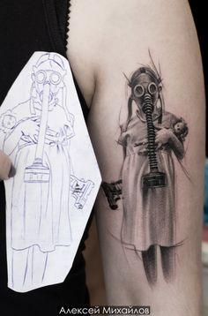 Trash Polka tattoo on hand by Aleksey Mihaylov Dr Tattoo, Doctor Tattoo, Tattoo Bein, Leg Tattoos, Body Art Tattoos, Girl Tattoos, Tattoos For Guys, Sleeve Tattoos, La Muerte Tattoo