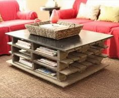 3 pallets stacked on top of each other to create a simple yet creative coffee table