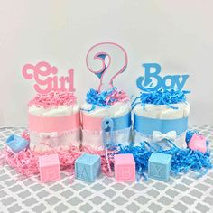 Girl or Boy Gender Reveal Diaper Cake Centerpiece
