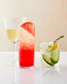 Free of alcohol doesnt mean free of flavor! Virgin versions of classic cocktails like margaritas, sangria, and boozy punches rely on fresh fruit juices and sparkling ciders for a pop. #marthastewart #recipes #recipeideas #drinkrecipes #drinkideas #fundrinkrecipes