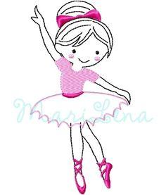 """Stickdatei  """"Nina"""" Ballerina Redwork 13x18 von ✿   MariLena Stoffzaubereien   ✿ auf DaWanda.com"""
