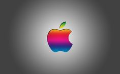 Colorful Apple Logo With Grey Background HD Wallpaper Desktop Mac