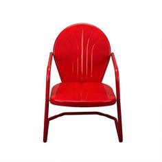 "34"""" Vibrant Red Retro Metal Outdoor Tulip Chair"
