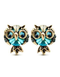 LNKRE JEWELRY Women's Cute Owl Rhinestone Gemstone Stud Earrings. Size:0.5 inches high,0.4 inches wide. Fashion owl stud earring featuring marquise and round-shaped blue crystal. Hypoallergenic properties of our earrings will not cause allergies despite how long you wear them. Gemstones may have been treated to improve their appearance or durability and may require special care. Nice gift for your freinds,lovers,or any other special person for you.