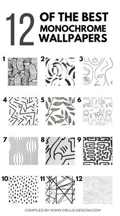 A round up of my top 12 favourite monochrome self-adhesive wallpaper patterns.