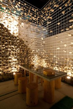 Cafe Ato by Design BONO // gabion wall deconstructed