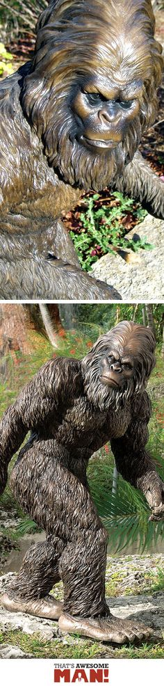 The Creator Of This Bigfoot Garden Statue Not Only Managed To A Real Life  Bigfoot To Hang Around Long Enough To Pose For The Statue, But Also Got Him  To ...
