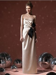 Sheath/Column Elastic Woven Satin Strapless Floor-length Bowknot Champagne Bridesmaid / Evening Dresses (UKLF261)