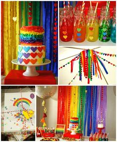 Rainbow themed birthday party via kara's party ideas! full of decorating ideas, dessert, cake, cupcakes, favors and more! Rainbow Unicorn Party, Rainbow Birthday Party, Rainbow Theme, 6th Birthday Parties, Birthday Party Decorations, Rainbow Party Favors, Rainbow Heart, Halloween Decorations, Birthday Ideas