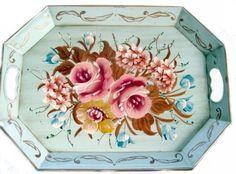 Vintage Aqua Rose Tole Tray  <3<3