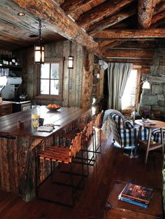 Cabins And Cottages: Sweet kitchen and family room at this rustic cabin. Log Cabin Living, Log Cabin Homes, Log Cabins, Rustic Cabins, Rustic Cabin Decor, Pictures Of Kitchen Islands, Kitchen Island With Seating, Little Cabin, Cabins And Cottages