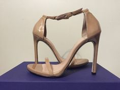 Stuart Weitzman Nudist Adobe Aniline Tan Patent Leather Heels Sandals 6.5 N #StuartWeitzman #FashionHeelsSandalsAnkleStrap