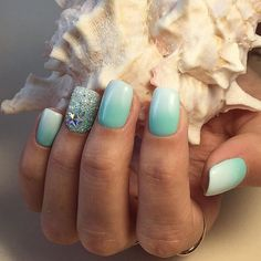 Precious sea mermaids nails gradient white and light blue nails summer 2017