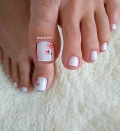 27 Modelos de Unhas com esmalte Branco Uñas Decoradas ? Pretty Toe Nails, Cute Toe Nails, Pretty Toes, Toe Nail Color, Toe Nail Art, Nail Nail, Pink Nails, My Nails, Summer Toe Nails