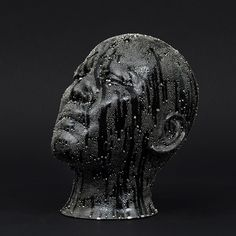 """Takahiro Kondo [Japanese, b. ] Untitled (Black Mist), 2010 Porcelain with black underglaze and """"silver mist"""" overglaze 8 x 6 x 8 inches x x cm) Sculpture Head, Lion Sculpture, Ceramic Sculptures, But Is It Art, 3d Cnc, Porcelain Ceramics, Painted Porcelain, Porcelain Jewelry, Fine Porcelain"""