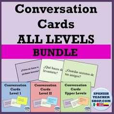 Get your Spanish students talking! If you are a Spanish department of one, this product is a must for you! Over 460 questions across all levels. We've combined our Level 1, Level 2, and Upper Level Conversation Card products into this money saving bundle.