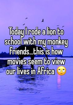Today I rode a lion to school with my monkey friends.this is how movies seem to view our lives in Africa Funny Happy, The Funny, Story Of My Life, Our Life, African Memes, African American Makeup, Study Break, Whisper Confessions, Whisper App