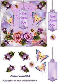 Lilac Happy mother s Day on Craftsuprint designed by Donna Kelly - Floral mother`s day card front, lovely flowers and butterflies adorn this lilac toned card front Approx 6x6, includes decoupage and two tags one blank - Now available for download!