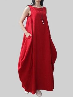 Vintage Women Pure Color Sleeveless Plus Size Loose Linen Dress