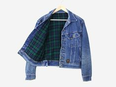 Layer this denim jacket with a LBD and tights. Let the plaid do all the talking. Care Instructions: Hand wash, hang to dry *Please Note: No returns accepted on outerwear* Item shows typical signs of w