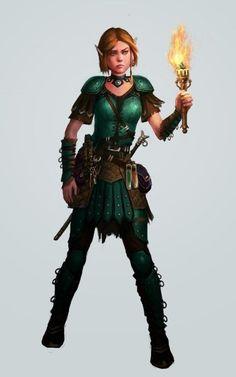 f Half Elf Ranger Med Armor Rapier urban undercity city torch