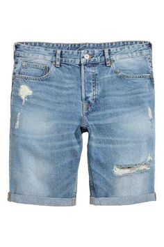low-rise shorts in washed denim with hard-worn details, a button fly and sewn-in turn-ups at the hems. Denim Jeans Men, Denim Shorts, Diesel Jeans, Outfit Grid, Light Denim, Short Outfits, Denim Fashion, Jeans Style, Andorra