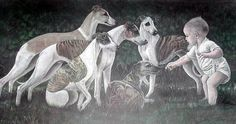 Whippets in Painting, artist unknown