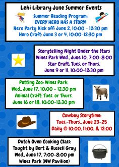 Lehi Library June Summer Events