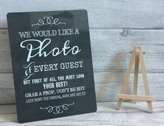 A5 Metal Vintage Photo Booth Wedding Party Props Table Sign With Easel   | eBay