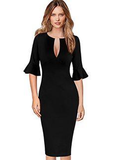 VfEmage Womens Sexy V-Neck Bell Sleeves Work Party Cocktail Sheath Dress  V10021 d0af35419157