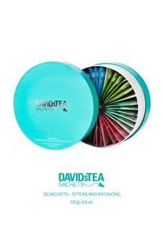 A tea for every mood! This fun, circular box in bright teal is the ultimate collection for entertaining. Contains 12 delicious teas for a total of 36 sachets. Davids Tea, Best Tea, Ultimate Collection, Sachets, Tea Accessories, Tea Recipes, Awesome Things, Drinking Tea, Teas