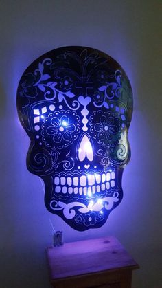 Beautiful. Metal sugar skull lamp. See here => http://tidd.ly/f3cb9745 #mysugarskulls