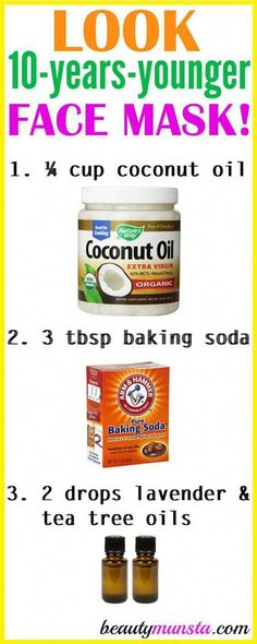 Do you want to look 10 years younger? Try using coconut oil and baking soda for wrinkles 3 times a week! What Coconut Oil and Baking Soda Does for Wrinkles Coconut oil and baking soda are both amazing anti-aging ingredients. Baking soda helps with cleans Huile Tea Tree, Baking Soda Shampoo, Baking Soda Coconut Oil, Baking Soda Face Scrub, Baking Soda For Face, Baking Soda Mask, Skin Cleanse, Healthy Cleanse, Tips Belleza