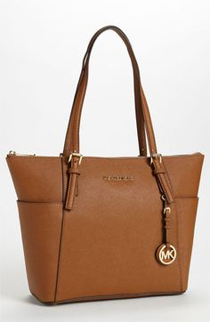 MICHAEL Michael Kors 'Jet Set' Leather Tote, Medium available at #Nordstrom