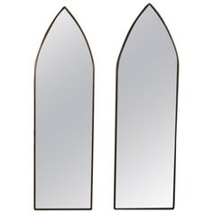 Pair of Antique Gothic Style Pointed Arch Bronze Wall Mirrors, 20th Century | 1stdibs.com