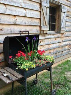 #repurposed #grill #gardening #planter