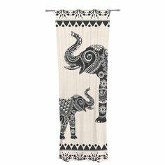 "Famenxt ""Ornate Indian Elephant-Boho"" Black Beige Decorative Sheer Curtain"
