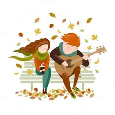 Boy plays guitar for a girl by masastarus on Creative Market