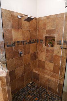 Stone tile shower