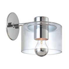 Sonneman Lighting Modern Sconce Wall Light with Clear Glass in Polished Chrome Finish   4801.01   Destination Lighting $260